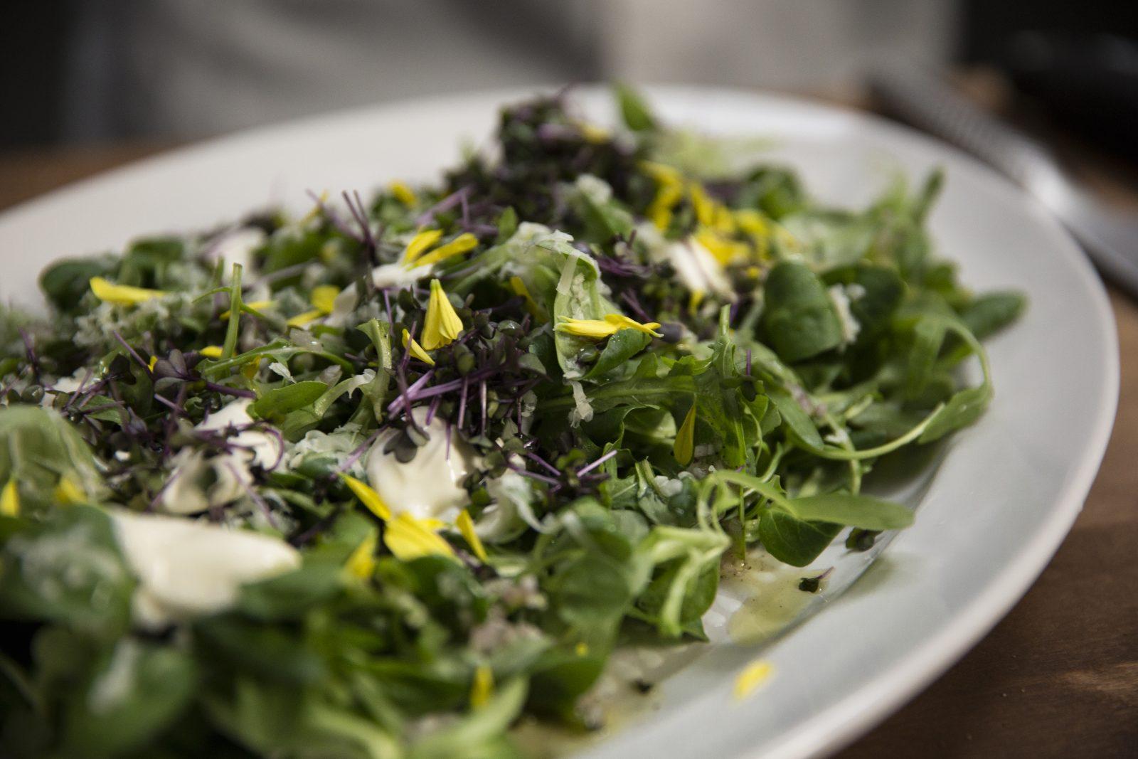 Frisk salat med revet Jarlsberg