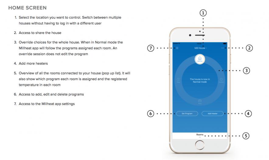 FJERNSTYRES GJENNOM WIFI: Ovnene fjernstyres via en egen Millheat-applikasjon på telefonen som kan lastes ned gratis i Appstore eller Google Play.