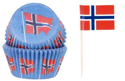MUFFINSFORM/STICKS NORSKE FLAG