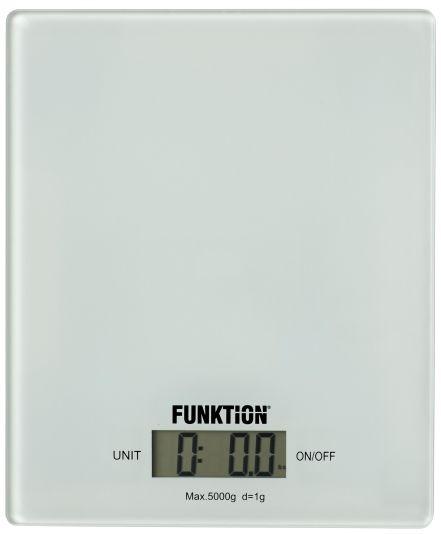 FUNKTION KJØKKENVEKT GLASS HVIT