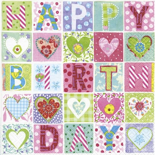 INVITE SERVIETT 33X33CM HAPPY BIRTHDAY