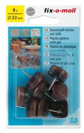 PLASTKNOTT M/STIFT 22MM BRUN
