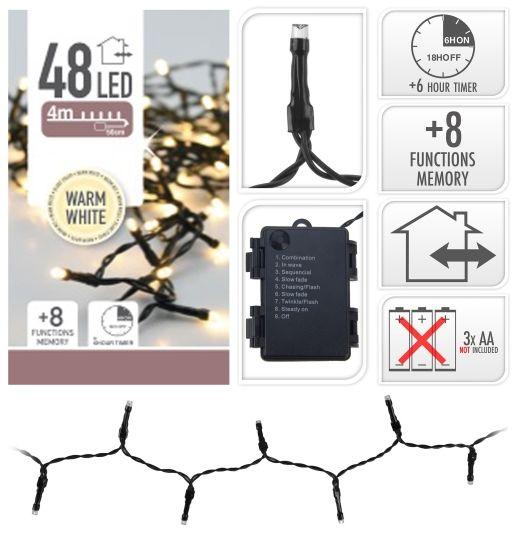 BATTERIDREVET LYSSLYNGE 48 LED VARMHVIT UTE/INNE