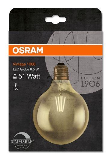 OSRAM LED GLOBE G125 54 GOLD E27 DIM. PÆRE I GLOBEFORM, LIK 54W